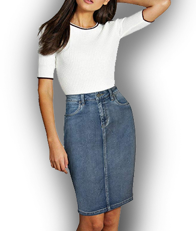 Lexi Womens Super Comfy Denim Skirt