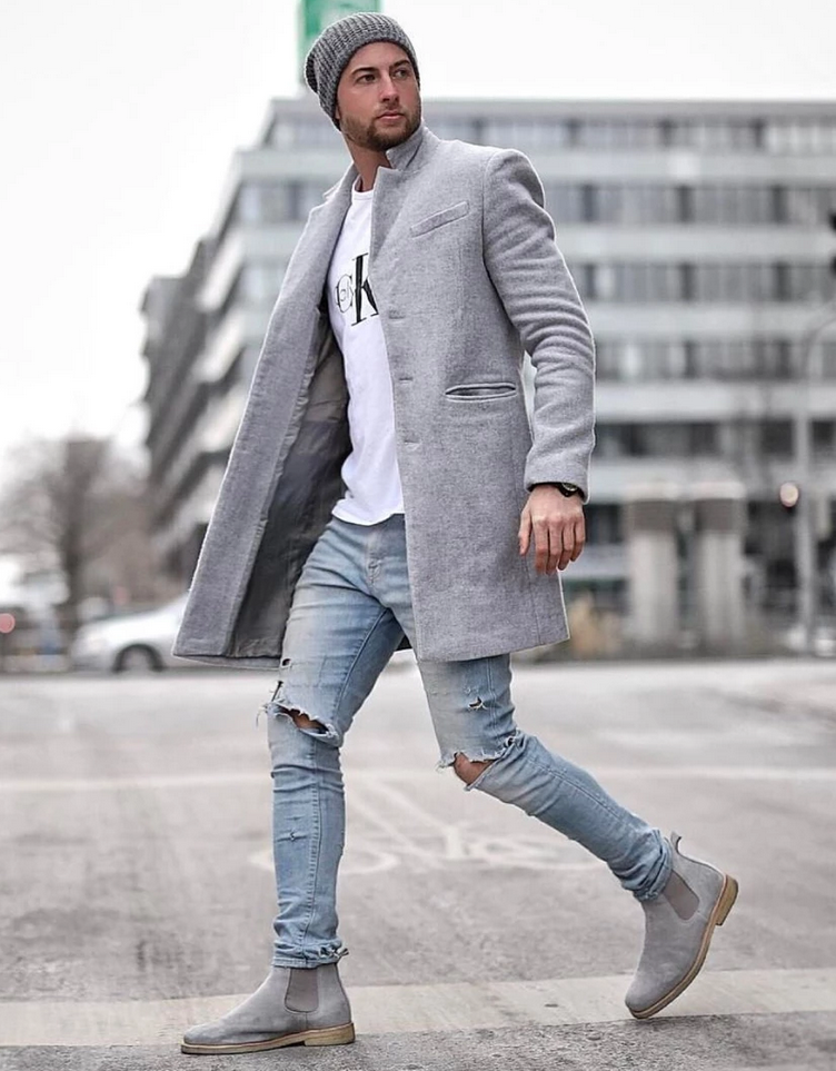 minimalist men long warm coat
